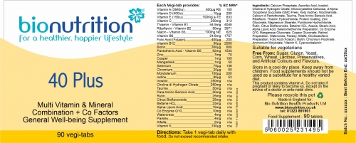 Bio Nutrition : General Wellbeing : 40 Plus > Product Label